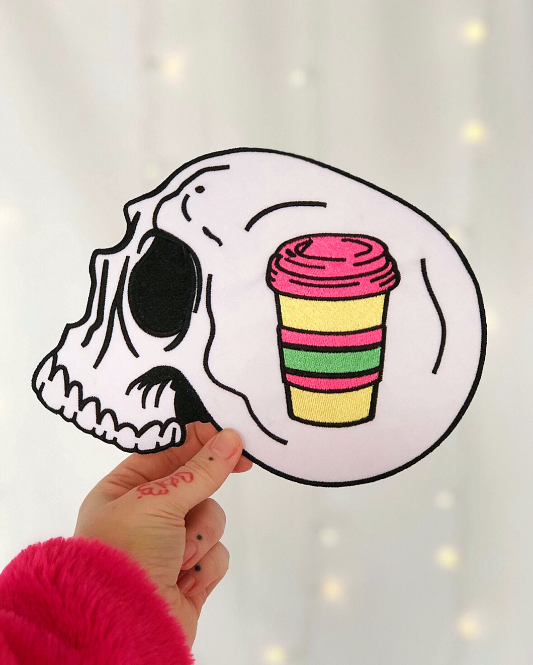 Colorful Coffee Skull Backpatch