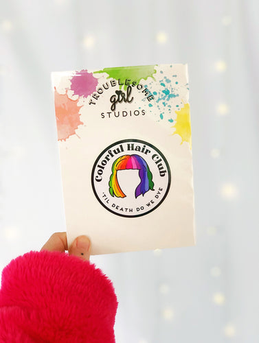 Colorful Hair Club Vinyl Sticker