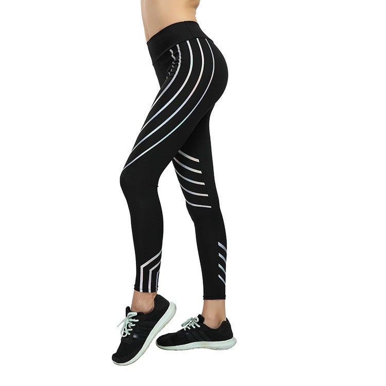 860e9a5c4bcc76 ... OL Printed Reflective Sport Yoga Pants Women Fitness Gym Leggings  Running Compression Tights Quick Dry Sport ...