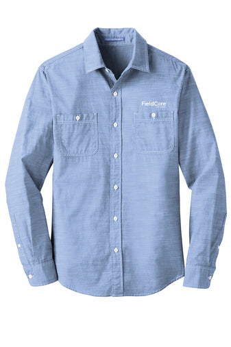 112a0262 MEN'S COTTON CHAMBRAY LONG SLEEVE SHIRT - BLUE