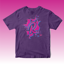 Load image into Gallery viewer, 3D R Paint Splat T Shirt in Purple
