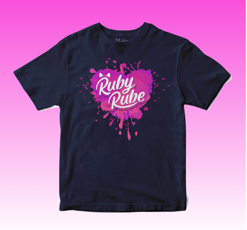 Heart Splat T Shirt in Navy Blue