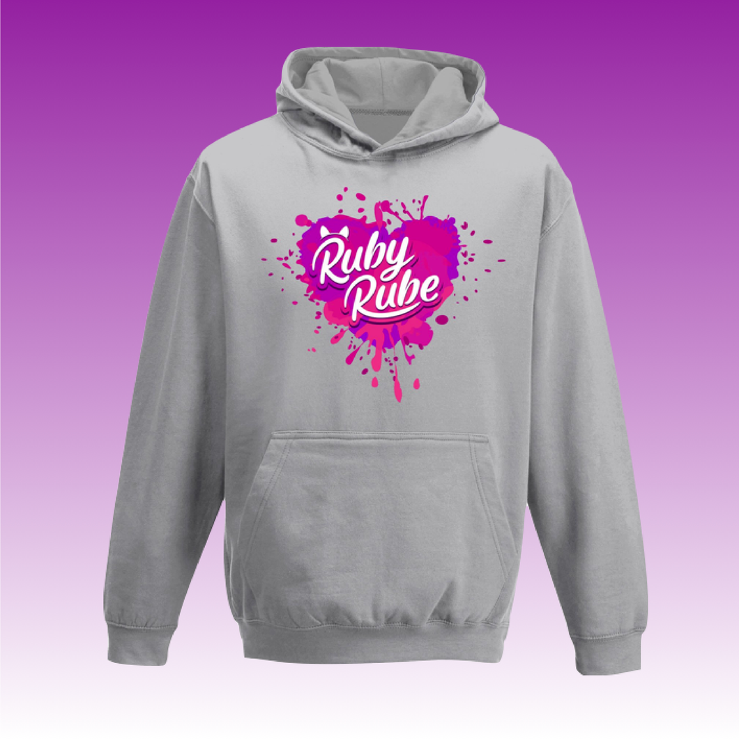 Heart Paint Splat Hoodie in Grey