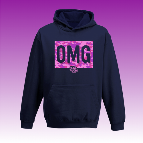 OMG Camo Box Hoodie in Navy Blue