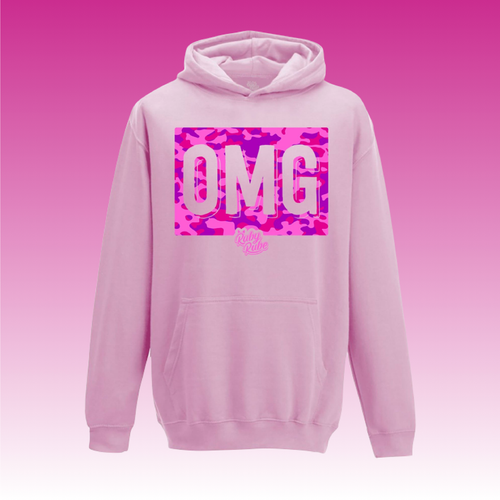 OMG Camo Box Hoodie in Light Pink