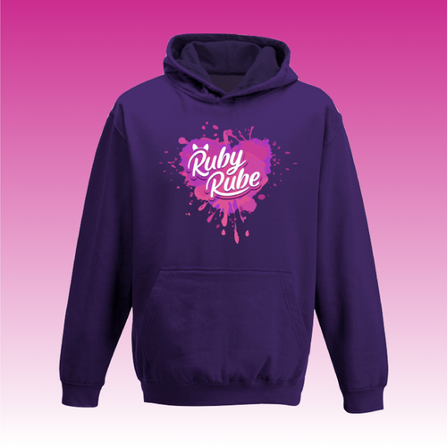 Heart Paint Splat Hoodie in Purple