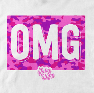 OMG Camo Box T Shirt in White
