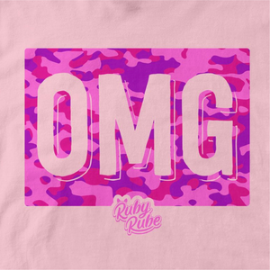 OMG Camo Box T Shirt in Light Pink