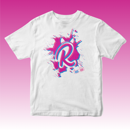 3D R Paint Splat T Shirt in White
