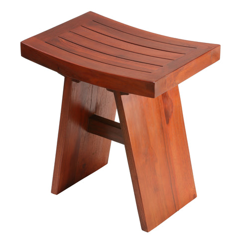 "Bare Decor Sofi Shower Stool in Solid Teak Wood, 18""x12""x18"""