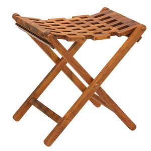 Bare Decor Mosaic Folding Stool in Solid Teak Wood