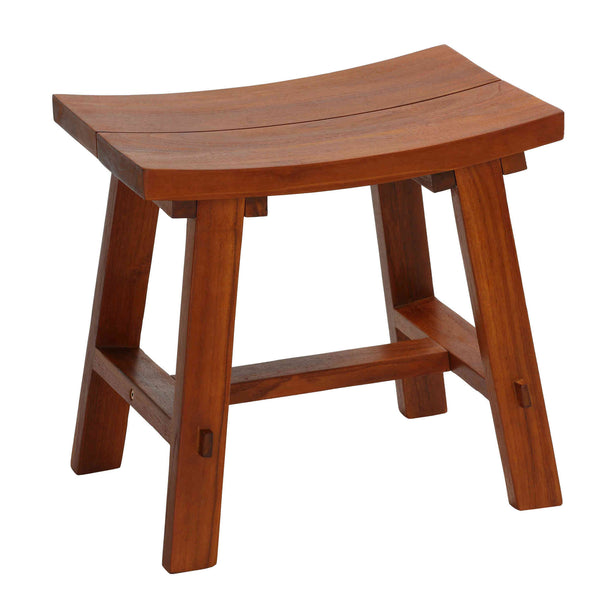 Bare Decor Dorsey Accent Stool with Curved Seat, Teak