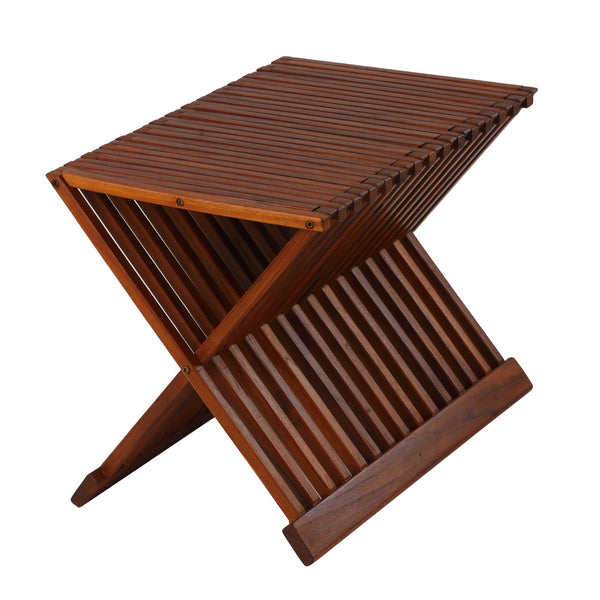 Bare Decor Felipa Folding Teak Accent Stool, 23""