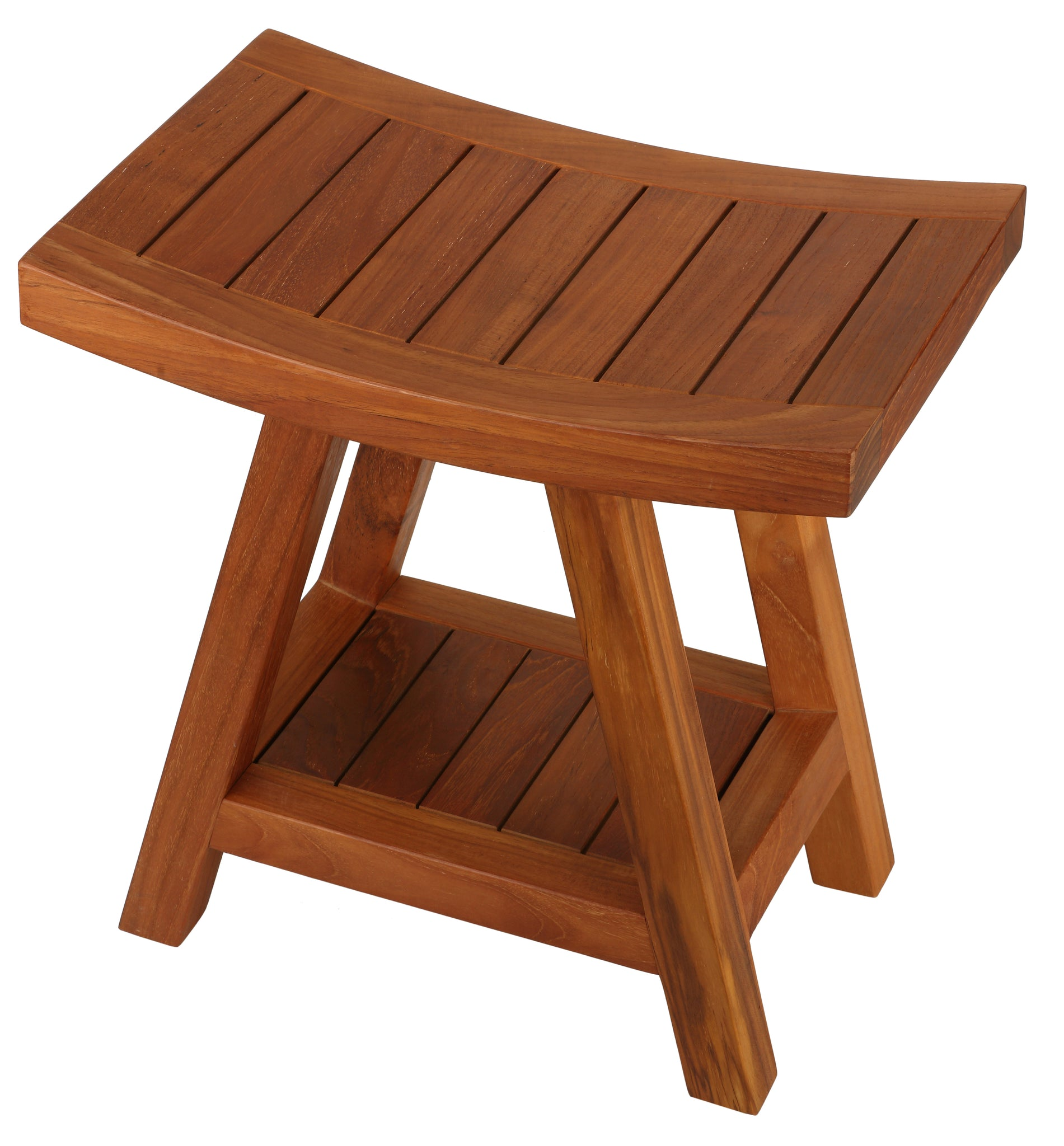 Bare Decor Niles Bench Stool with Shelf in Solid Teak Wood