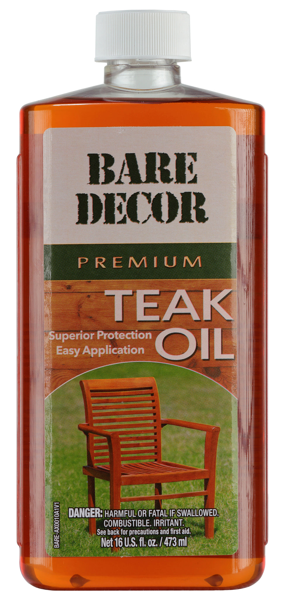 Bare Decor Premium Golden Teak Oil for Home and Marine Use, 16oz
