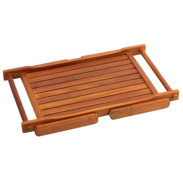 Bare Decor Eddie Serving Tray Table with Folding Legs in Solid Teak Wood