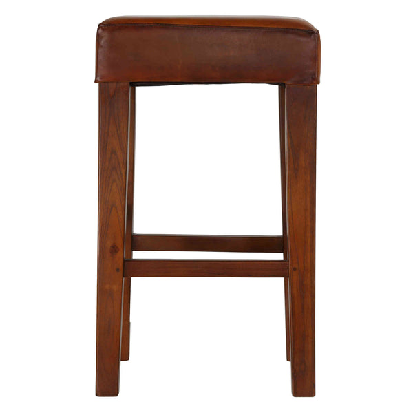 Bare Decor Sally Genuine Leather and Teak Wood Square Counter Stool, 26""