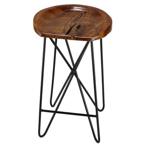 Bare Decor Aloha Backless Teak Counter Stool with Metal Legs