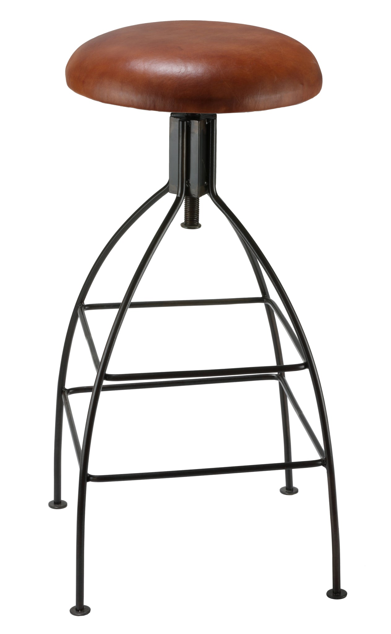 Bare Decor Pinot Counter Stool Black Metal Frame with Brown Genuine Leather Seat