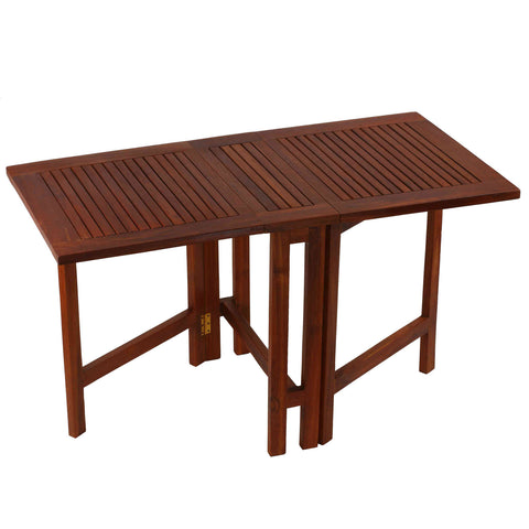 Bare Decor Emery Double Leaf Butterfly Folding Dining Table, Teak