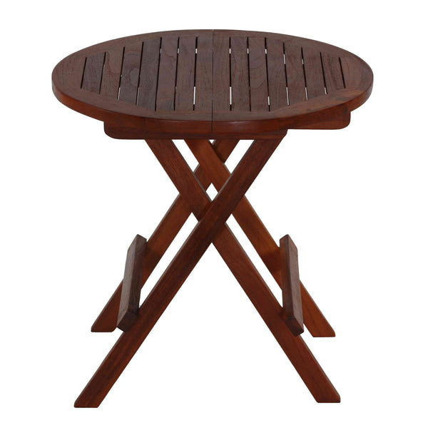 Bare Decor Karlyn Round Folding End Table in Teak Wood, 20""