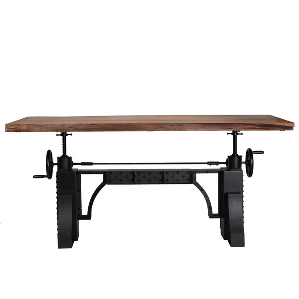 Bare Decor Blacksmith Wood Crank Table Executive Sit To Stand with Riveted Metal Base
