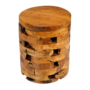 Bare Decor Stonehenge Artisan Accent Stool, Table in Solid Teak Wood