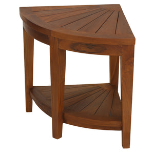 "Bare Decor Hanna Corner Spa Shower Stool in Solid Teak Wood, 18""H"