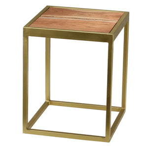 Bare Decor Dixie Brushed Gold and Wood End Table