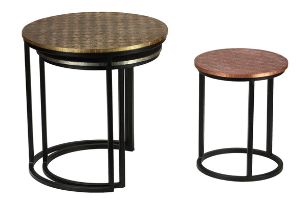Bare Decor Georgia Metal Nesting End Tables, Set of 3