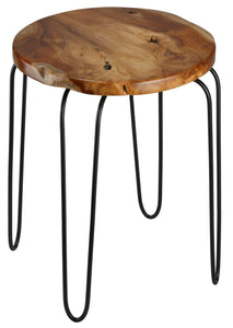 Bare Decor Lacie Accent End Table with round Solid Teak Root Top
