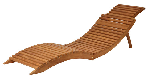 Bare Decor Chanelle Outdoor Teak Wood Folding Lounge Chair, Compact and Easy to Carry