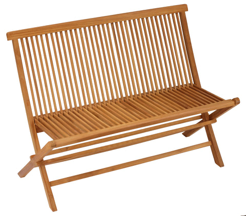 Bare Decor Logan Outdoor Folding Bench Loveseat in Solid Teak