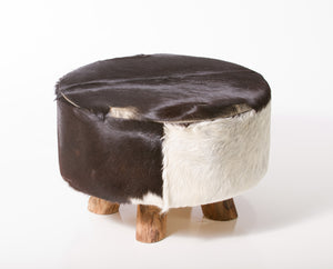 Bare Decor Cassidy Round Leather, Genuine Hide Ottoman in Black and White