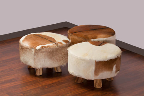 Bare Decor Billie Round Leather, Genuine Hide Ottoman in Brown and White