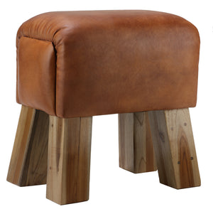 Bare Decor Gorgie Accent Stool in Brown Genuine Leather