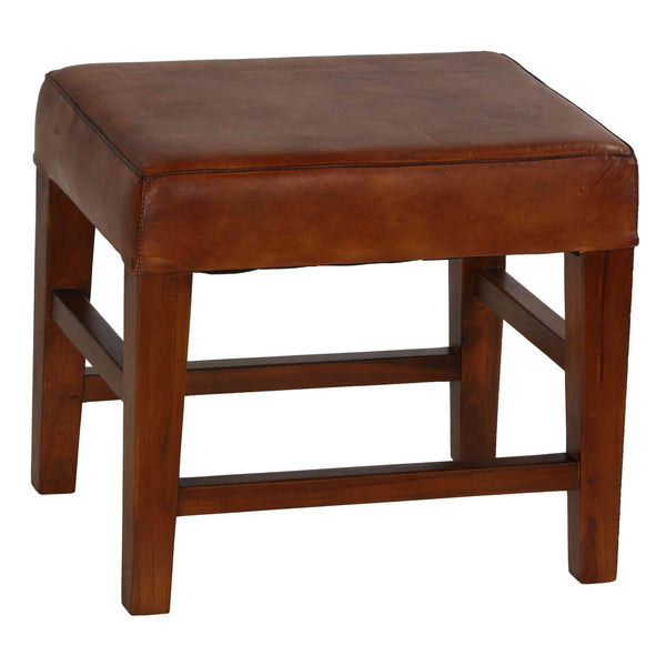 Bare Decor Alvin Genuine Leather Ottoman with Solid Teak Wood Legs, Brown