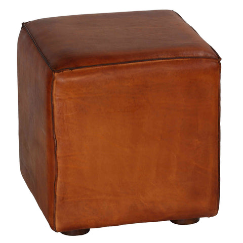 Bare Decor Sands Genuine Leather Cube Ottoman, Saddle Brown