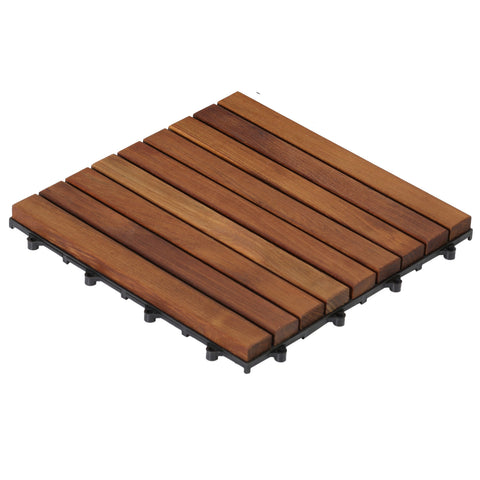 Bare Decor EZ-Floor in Solid Teak Wood, 1 TILE ONLY, Long Slat