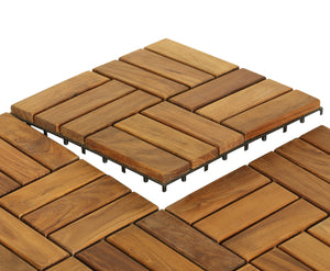Bare Decor EZ-Floor in Solid Teak Wood, 1 TILE ONLY, Parquet