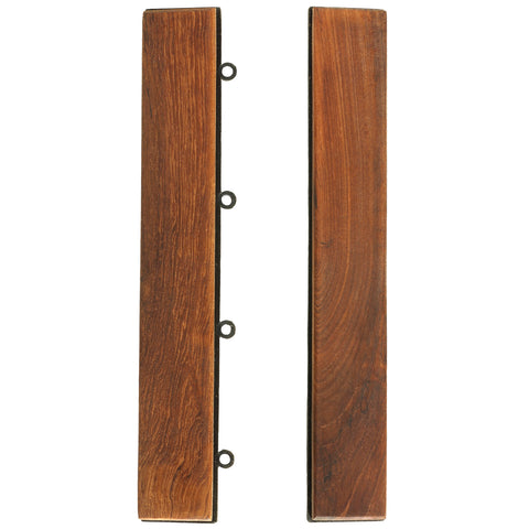Bare Decor EZ-Floor End Trim Piece Interlocking Flooring in Solid Teak Wood (Set of 2)