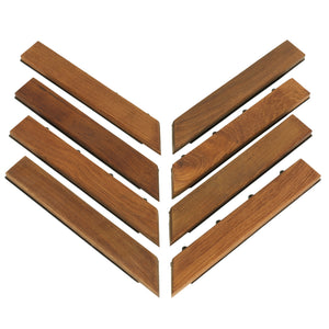 Bare Decor EZ-Floor Corner Trim Piece  Interlocking Flooring in Solid Teak Wood (Set of 8), Oiled Finish