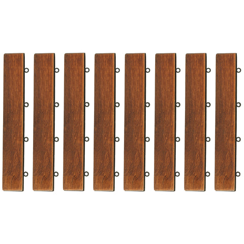 Bare Decor EZ-Floor Loop Ends Side Trim Piece for Flooring in Solid Teak Wood, (Set of 8)