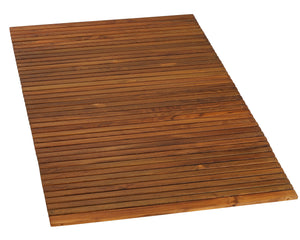 Bare Decor Oskar String Spa Shower Mat/Rug in Solid Teak Wood Oiled Finish, X-Large: 3' x 5'