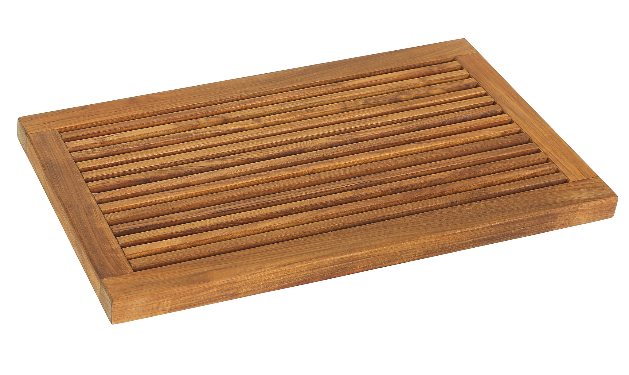 "Bare Decor Dasha Spa Bath or Door Mat in Solid Teak Wood Oiled Finish, Large: 31.5"" x 17.75"""