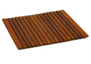 "Bare Decor Lykos String Spa Shower Mat in Solid Teak Wood Oiled Finish, Large: 24""x24"""