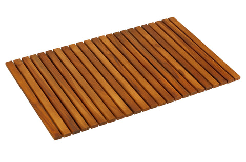 "Bare Decor Nori Shower, Spa, Door Mat in Solid Teak Wood and Oiled Finish, Large: 31.5"" x 19.5"""
