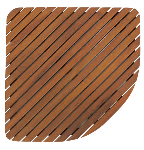 "Bare Decor Dania Corner Shower Spa Mat in Solid Teak Wood and Oiled Finish, 24"" x 24"""