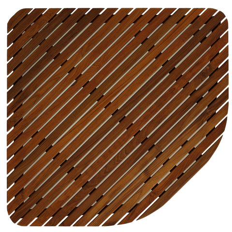 "Bare Decor Erika Corner Shower Spa Mat in Solid Teak Wood and Oiled Finish, X-Large, 30"" x 30"""