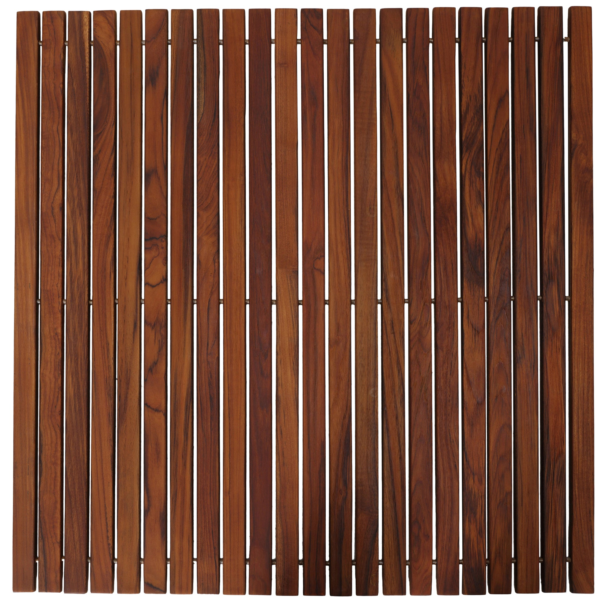 "Bare Decor Fuji String Spa Shower Mat in Solid Teak Wood Oiled Finish. XL Square 30"" x 30"""